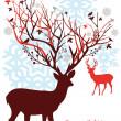 Christmas deer with snowy tree, vector — Stock Vector