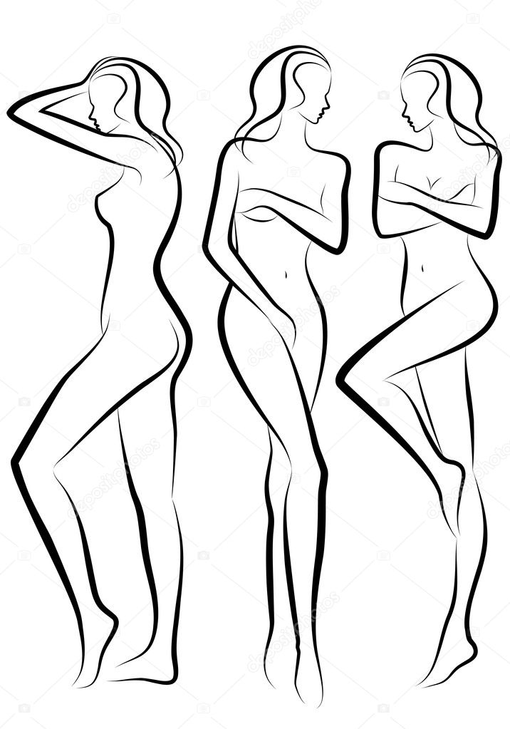Female body silhouettes, vector sketch — Stock Vector #4051577