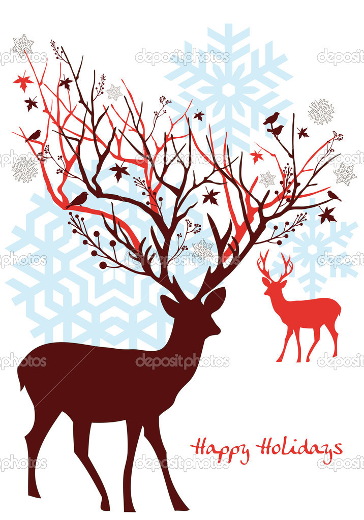 Christmas deer with snowflakes, vector background — Stock Vector #4051869
