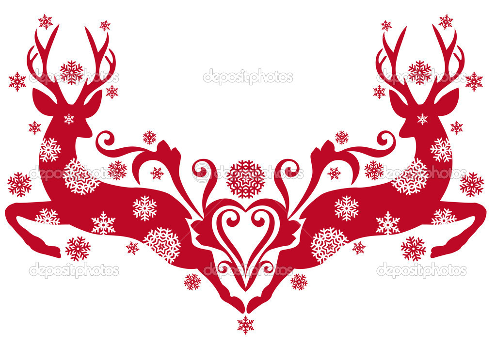 Red christmas deer with snowflakes, vector background — Stock Vector #4058291