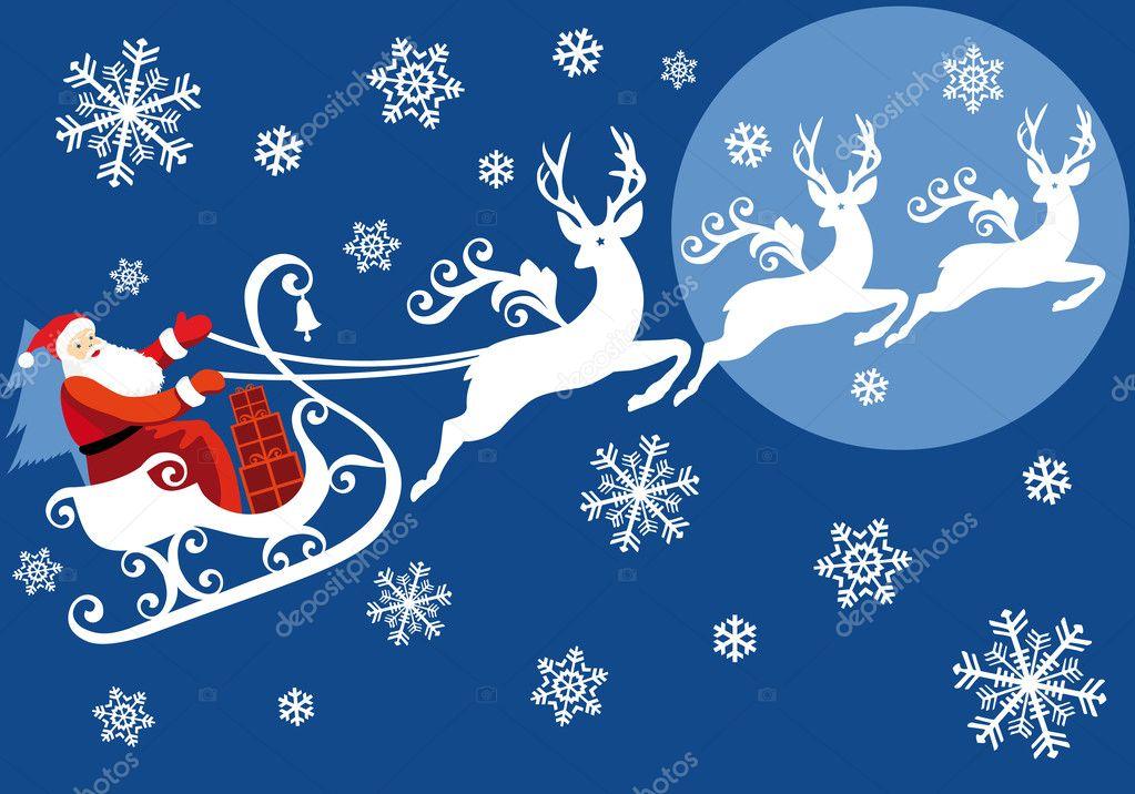 Дед мороз в упряжке из бумаги
