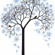 Winter tree, vector — Stockvectorbeeld