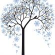 Winter tree, vector — Stock Vector
