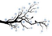 Rama de árbol de invierno — Vector de stock