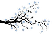Winter tree branch — Vector de stock