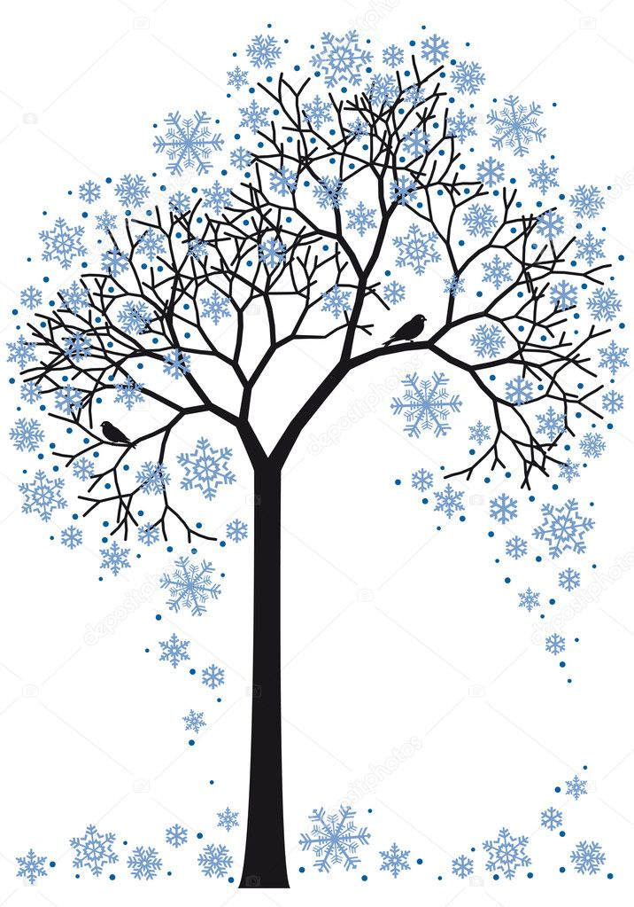 Beautiful winter tree with snowflakes, vector background — ベクター素材ストック #4169459