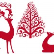 Reindeer with christmas tree, vector — Imagen vectorial