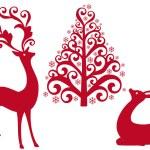 Reindeer with christmas tree, vector — Stock Vector
