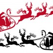 Santa with sleigh and reindeer, vector — Stockvectorbeeld
