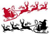 Santa med släde och renar, vektor — Stockvektor