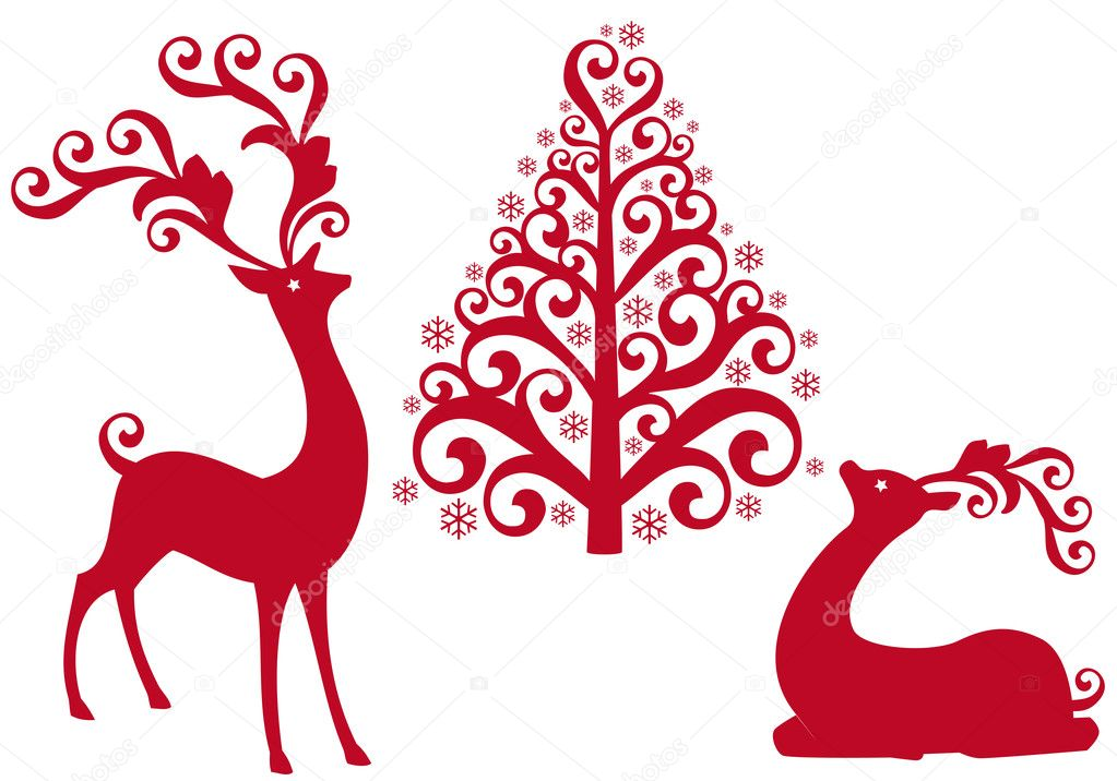 Red reindeer with ornamental christmas tree, vector background — Stock Vector #4192175