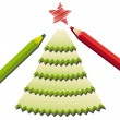 Pencil shavings christmas tree — Stock Vector