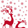 Reindeer in snowfall, vector - Stock Vector