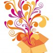 Gift box with floral design, vector — ストックベクタ