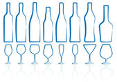 Bottles and glasses — Stock Vector