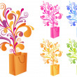 Decorative shopping bag, vector - Stock vektor