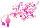 Perfume bottle with floral scent — Stockvector