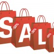Sale with red shopping bags, vector — Vettoriali Stock