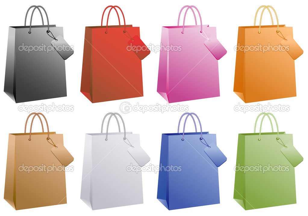 Shopping bags, basic colors set, vector  Stock Vector #4455363