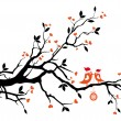 Royalty-Free Stock Imagen vectorial: Santa birds kissing on a tree, vector