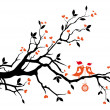 Royalty-Free Stock Vectorafbeeldingen: Santa birds kissing on a tree, vector