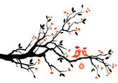 Santa birds kissing on a tree, vector — 图库矢量图片