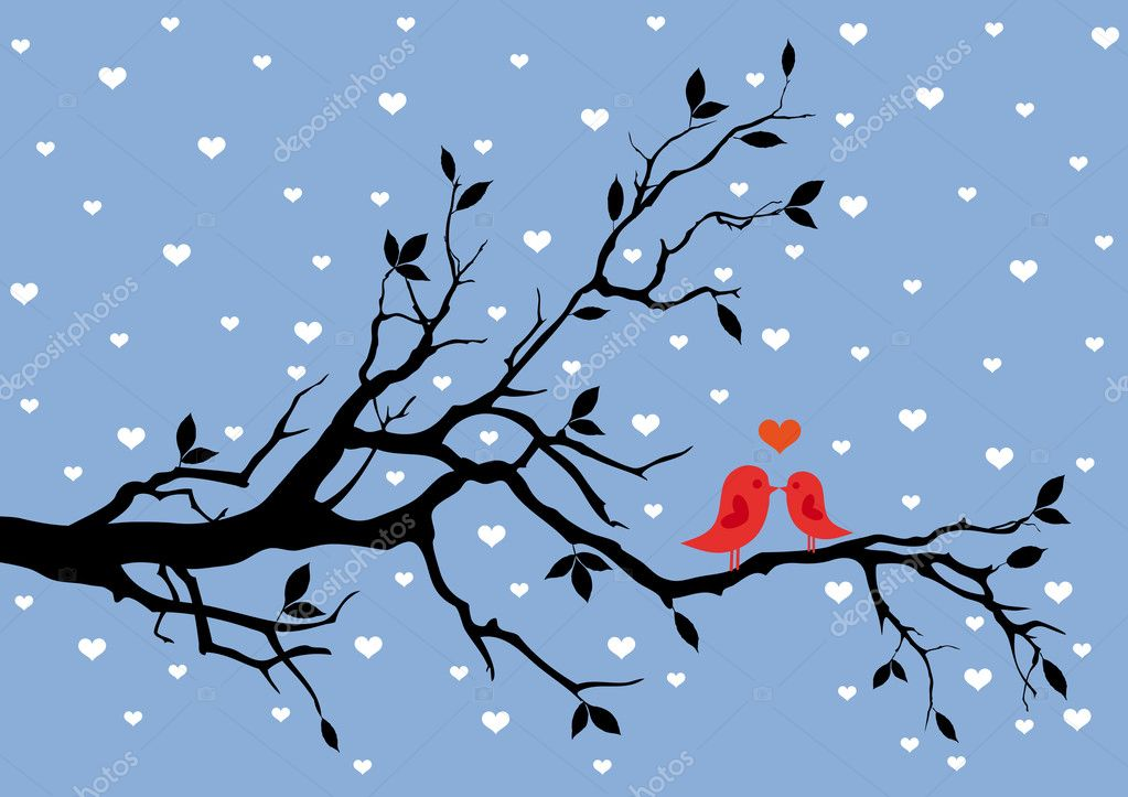 Birds in love, kissing on a tree, vector background — Векторная иллюстрация #4681301