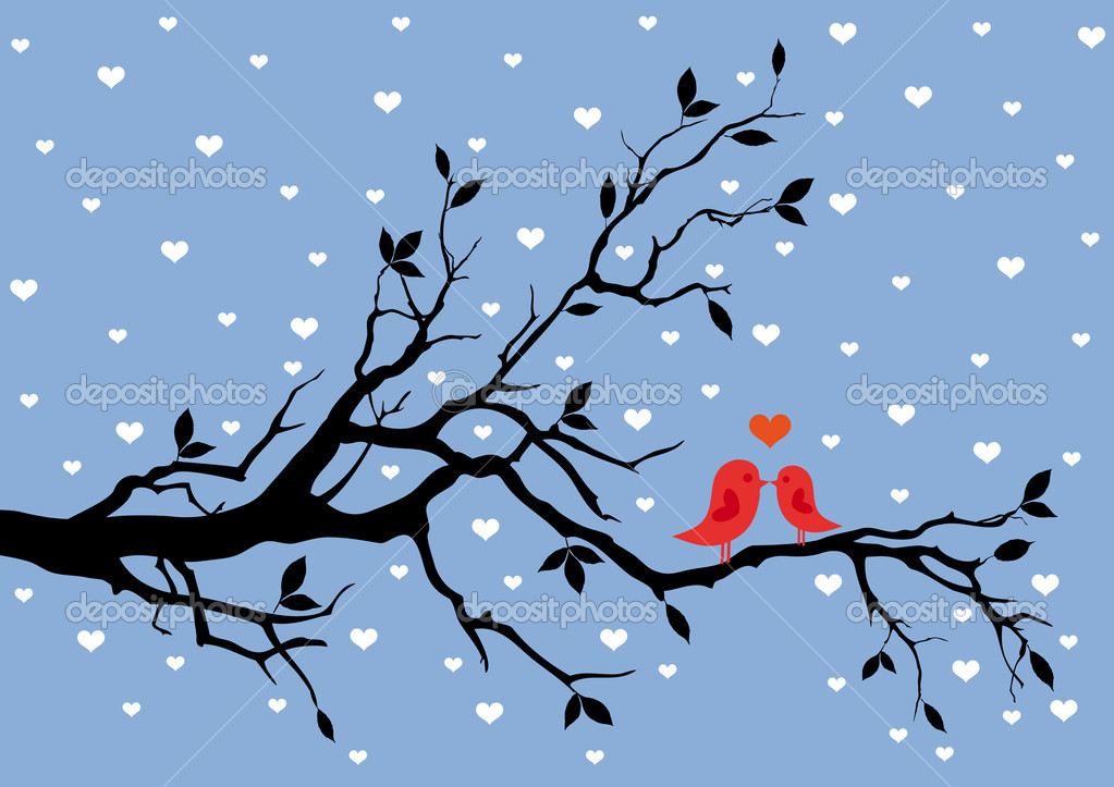 Birds in love, kissing on a tree, vector background — Imagen vectorial #4681301