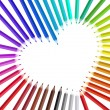 Heart with color pencils, vector - Vettoriali Stock