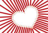 Rött hjärta pennor — Stockvektor