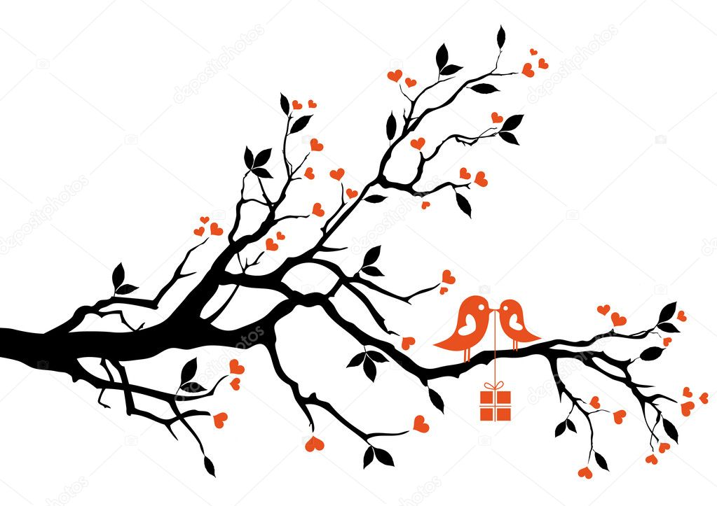 Love bird with gift box, sitting on a tree branch, vector background — Векторная иллюстрация #4837068