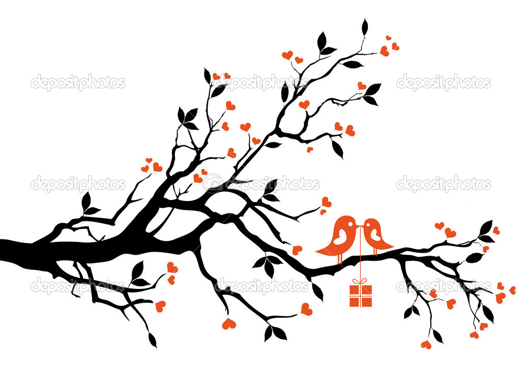 Love bird with gift box, sitting on a tree branch, vector background  Stock vektor #4837068