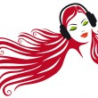 Woman with headphones, vector — Image vectorielle
