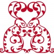 Ornamental red rabbits — Stock vektor