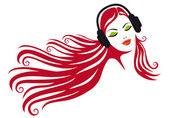 Woman with headphones, vector — Stock Vector