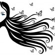 Woman with butterfly — Vector de stock