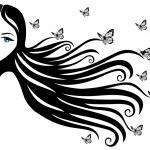 donna con farfalla — Vettoriale Stock