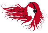 Woman listening music — Stock Vector