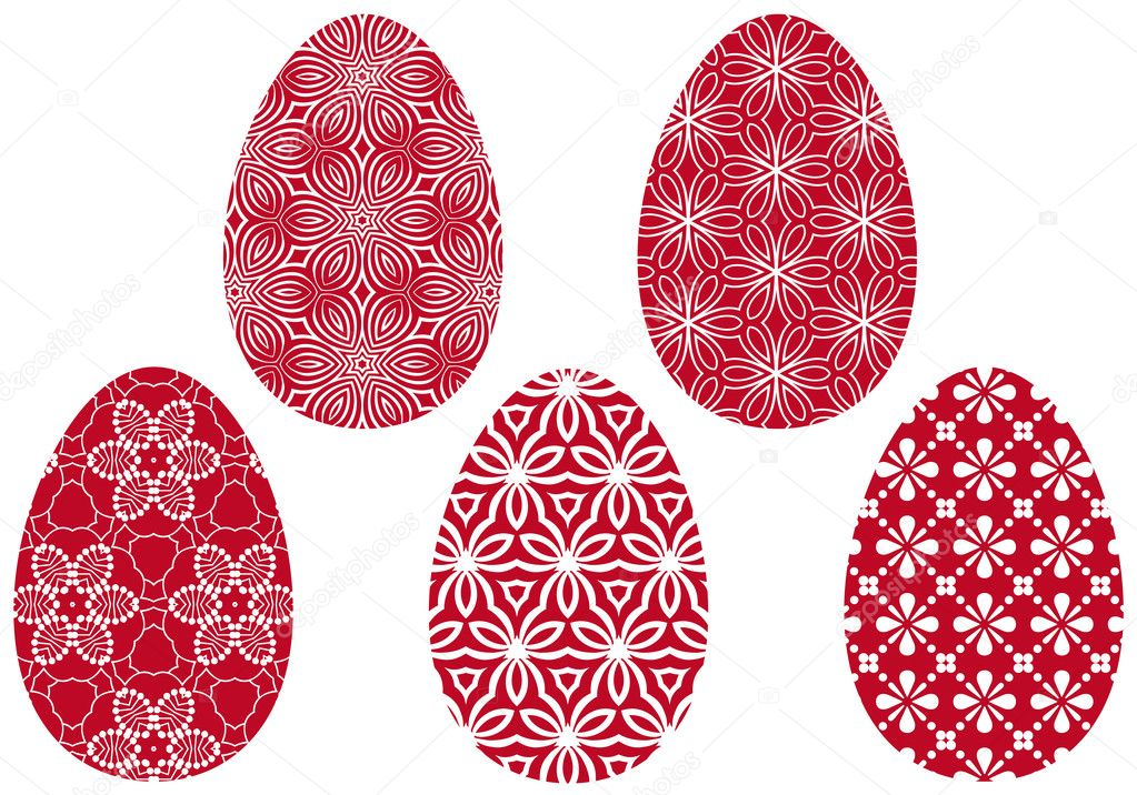 Easter eggs with floral pattern, vector illustration — Stock Vector #4928099