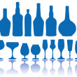 Stock Vector: Bottles and glasses, vector