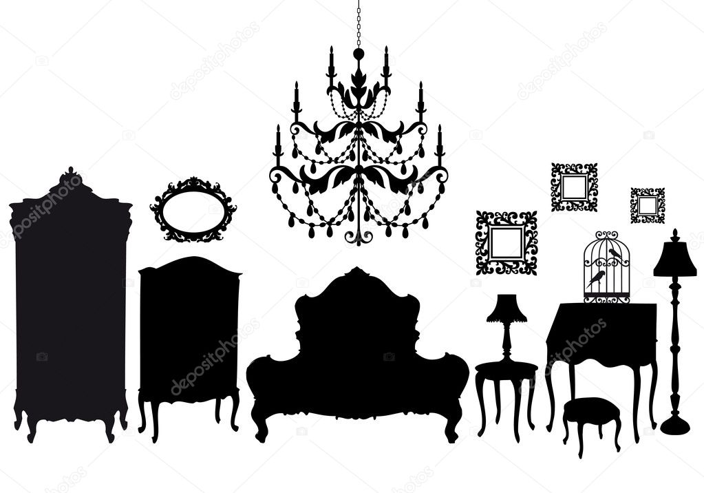 Bedroom with french antique furniture, vector background  Stock Vector #4984006