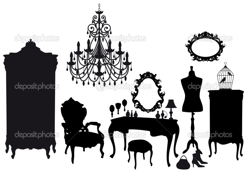 Dressing room with antique furniture, vector background — ベクター素材ストック #4984007