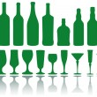 Bottles and glasses, vector — Stock Vector