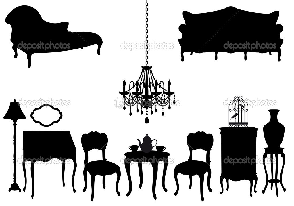 Living room with antique furniture, vector background — Stock Vector #5030210