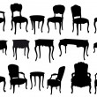 Stok Vektör: Antique chairs and tables, vector