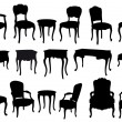 Antique chairs and tables, vector - Stock Vector