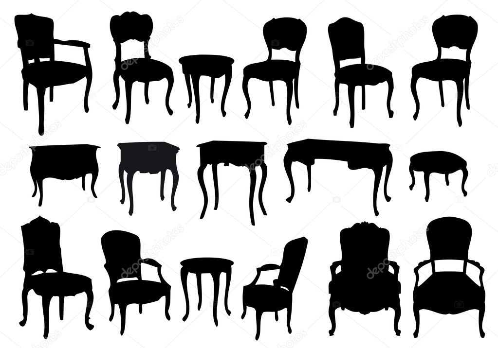 Chairs and tables, antique furniture, vector illustration — ベクター素材ストック #5059815