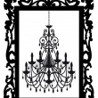Picture frame with chandelier, vector — Stock Vector