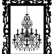 Picture frame with chandelier, vector - Stockvektor