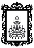 Picture frame with chandelier, vector — Cтоковый вектор